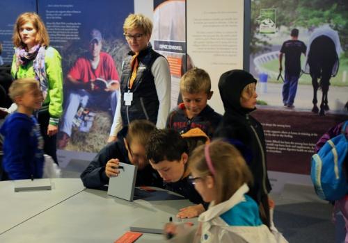 Crianças brincando na Equispher, apresentada pela Alltech nos Alltech FEI World Equestrian Games™ 2014 na Normandia. A Equispher permite aos visitantes explorar o mundo através dos sentidos de um cavalo.
