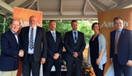Announcing new acquisitions in Norway (from left to right) are Dr. Pearse Lyons, founder and president of Alltech, Bjarne Ravnøy, Magne Kolstad, Leif Loe, Linda Dvergsdal Hauge all from Produs and Patrick Charlton, Alltech vice president for Europe. Produs and Produs Aqua are Alltech's ninth and tenth acquisitions respectively, a development  that will mean continued innovative, customised and quality products, programmes, services and on-farm consultation for customers in Norway, both on land and at sea.